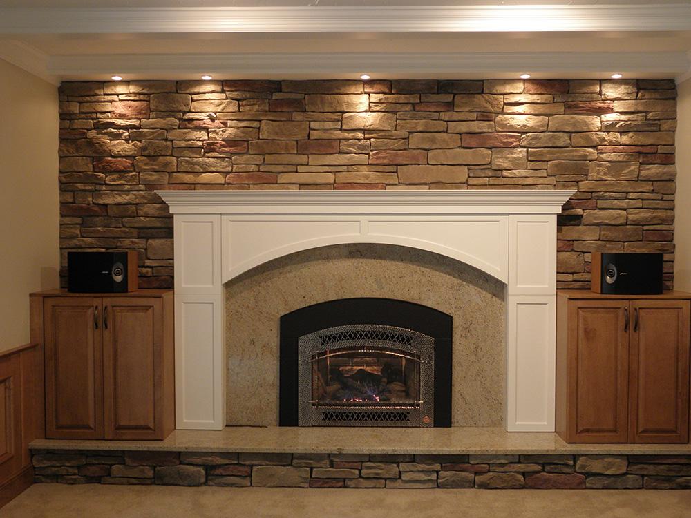stone fireplace wall
