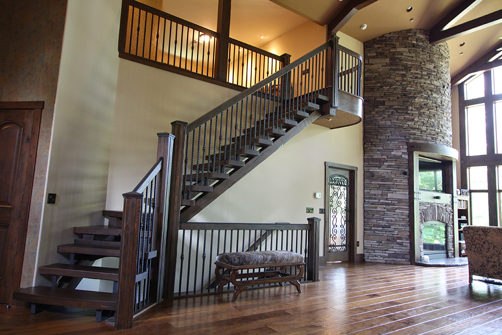 open riser wood staircase